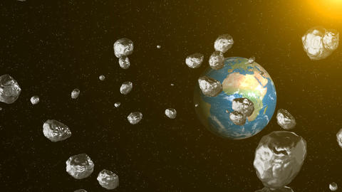 Asteroids in space fly to earth. Space background Animation
