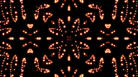 Glowing particles kaleidoscope. Seamless loop background Animation