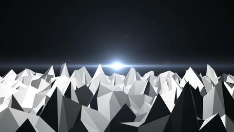 Low Poly Mountain Landscape. Digital background with flares, Stock Animation