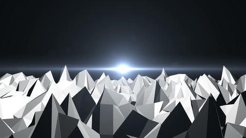 Low Poly Mountain Landscape. Digital background with flares Animation