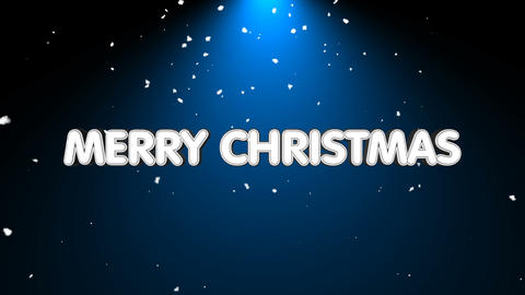 Merry christmas text with snow and light Animation