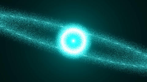 Abstract background with particles, Sphere and flares. Seamless loop Animation