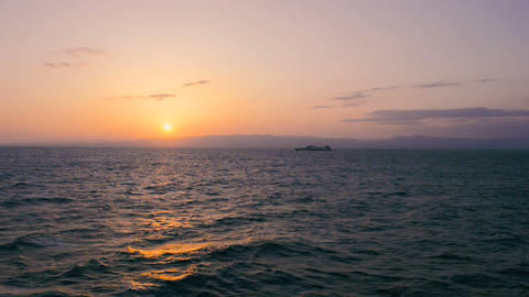 Sunset on the Shipboard,Off the Coast of Fukushima,Japan Footage