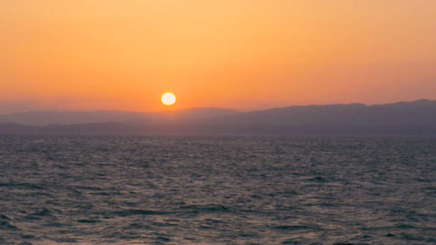 Sunset on the Shipboard,Off the Coast of Fukushima,Japan Stock Video Footage