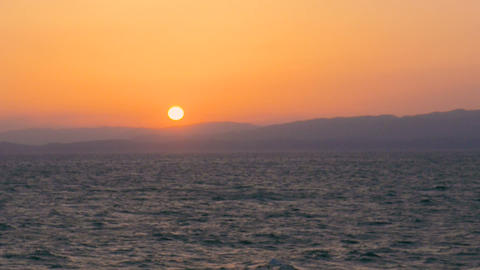 Sunset on the Shipboard,Off the Coast of Fukushima,Japan Stock Video Footage