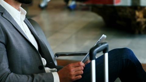 Businessman using digital tablet Footage
