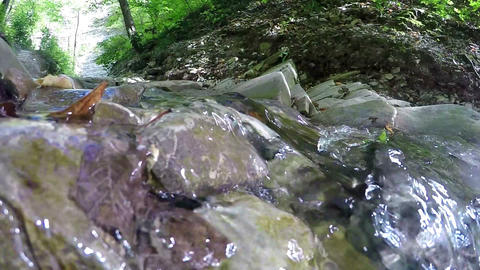 Water stream on mountain canyon, slow motion 120fps Footage
