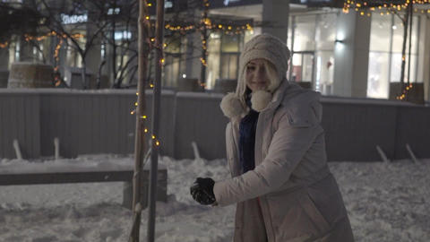 Winter Girl. Snowball Slow Motion Footage