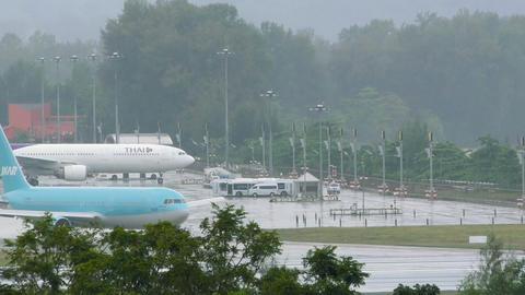 Boeing 767-300 of Ikar Airlines stays before runway in queue Footage