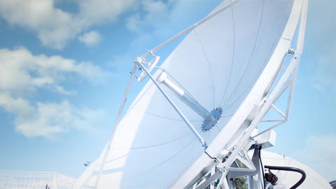 Satellite Dish On A Cloudy Blue Sky Footage