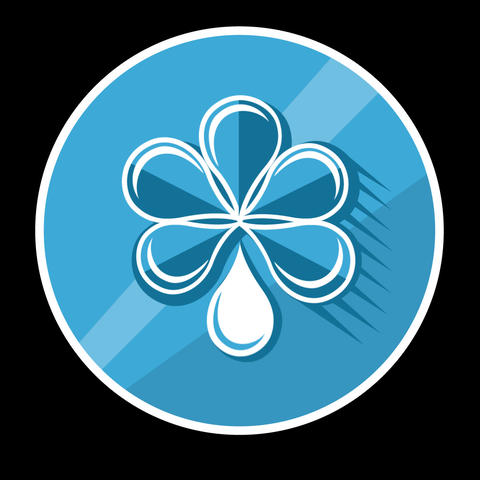 Blue Flower Flat Icon With Alpha Channel Animation