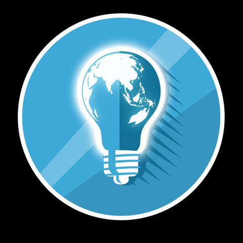 Blue Lamp Flat Icon With Alpha Channel Animation