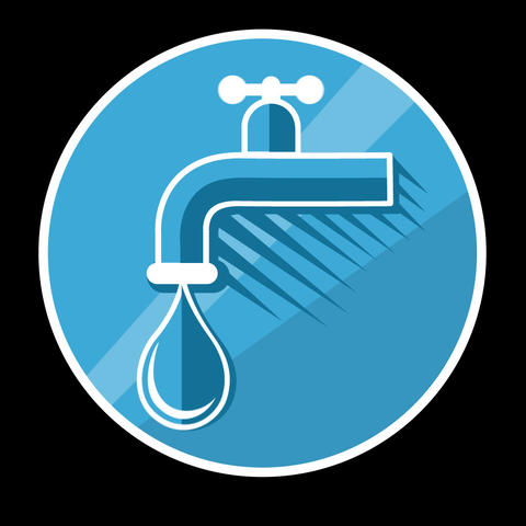 Water Tap Flat Icon With Alpha Channel Animation