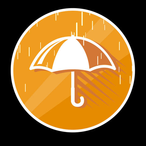 Umbrella Flat Icon With Alpha Channel Animation