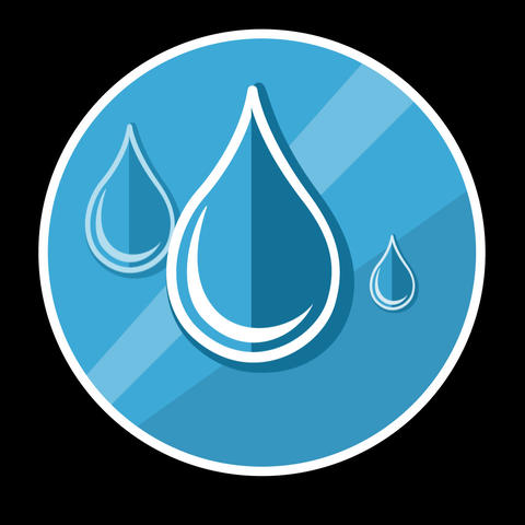 Water Drops Flat Icon With Alpha Channel GIF