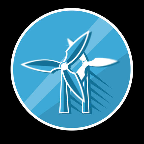 Windmill Flat Icon With Alpha Channel Animation