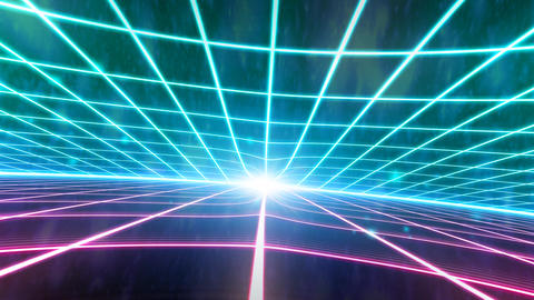 Retro 80s VHS tape video game intro landscape vector arcade wireframe terrain 4k Footage
