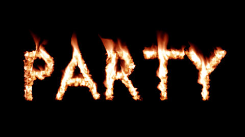 Party hot text brand branding iron metal flaming heat flames overlay 4K Live Action