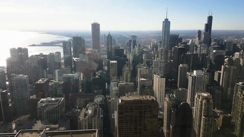 Chicago skyline panoramic day view from Willis Tower Footage