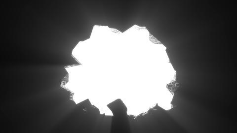 Wall break through demolish smash escape to white light transition 4K Footage