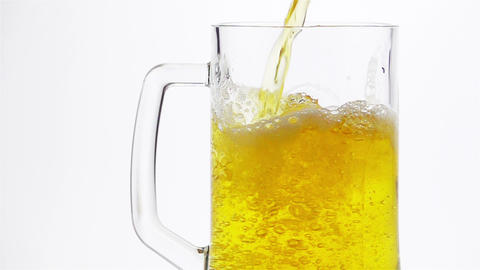 Light Beer is Poured into a Beer Mug Footage