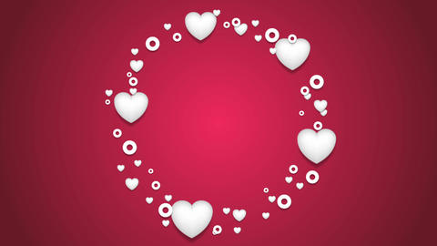 Beautiful hearts St Valentines Day video clip Animation