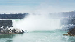 Niagara Falls, Canada, Timelapse - The falls with the snow Footage