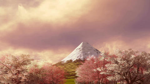 Mt Fuji and blooming sakura at scenic sunrise 애니메이션