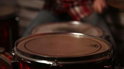 Drum sticks hitting the drum closeup Live Action
