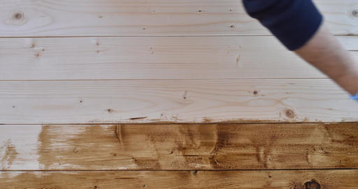 4K Time Lapse: Hand In Blue Gloves Painting Wooden Furniture Stock Video Footage