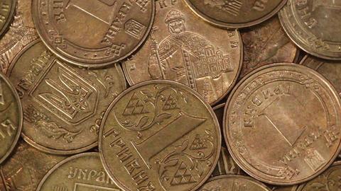 Closeup rotation of Ukrainian coins hryvnya Footage