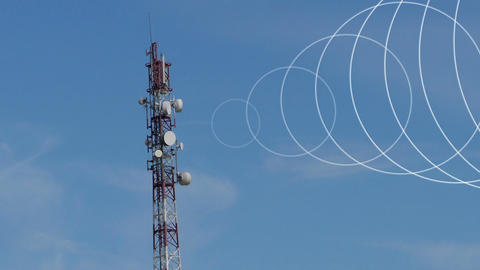 Beginning and end of signal from the radio tower Animation
