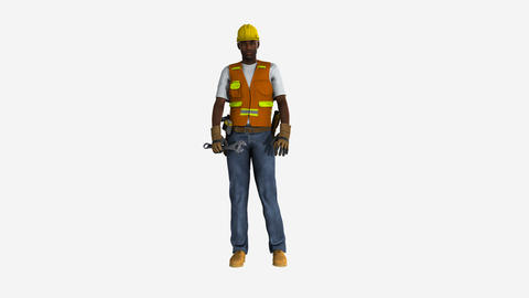 worker waving his arms dissatisfied , animation, Alpha... Stock Video Footage
