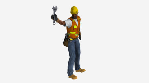 worker waving his arms dissatisfied , animation, Alpha channel, transparent back Animación