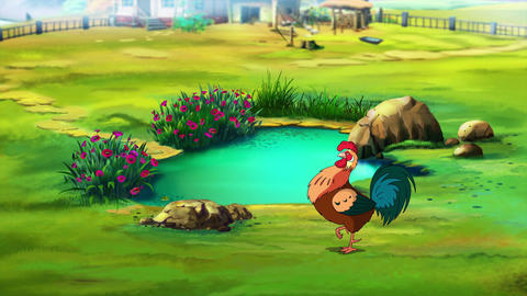 Rufuos Rooster near the pond UHD Animation