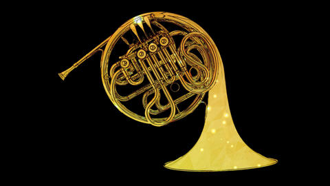 French Horn yellow Animation