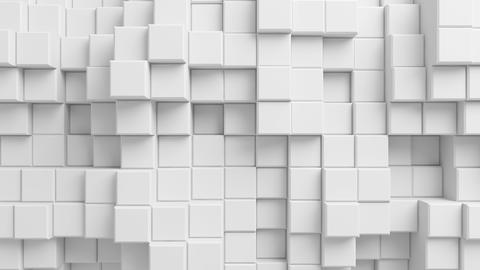 Beautiful Abstract Cubes Looped 3d Animation. White Wall Moving. Seamless Backgr Animation
