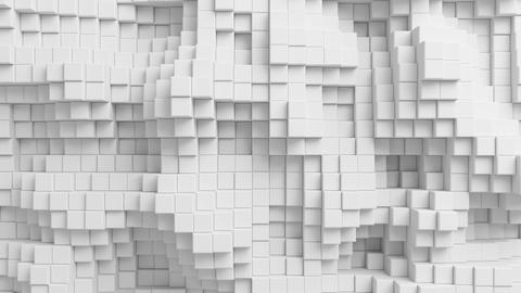 Beautiful Abstract Cubes Moving in Looped 3d Animation. White Wall Seamless Back Animation