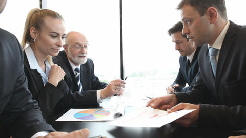 Business people and financial reports Footage