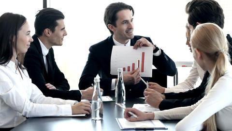 Businessman showing diagram Footage