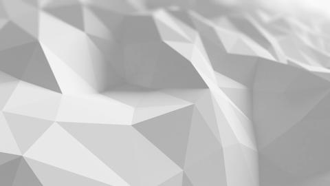 White Low Poly Surface Waving in Abstract 3d Animation. Seamless Background in 4 Animation