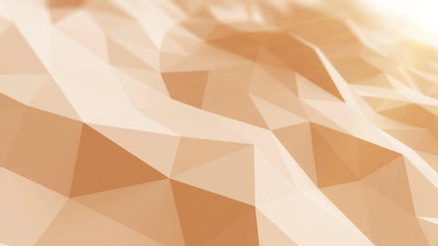 Beautiful Low Poly Surface Waving in Abstract 3d Animation with the Sun Rays. Se Animation