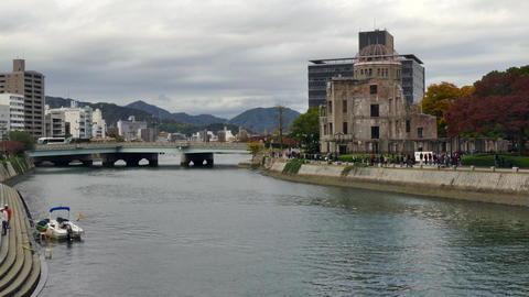 Bridge River Near Atomic Bomb Dome In Hiroshima Japan Asia Footage