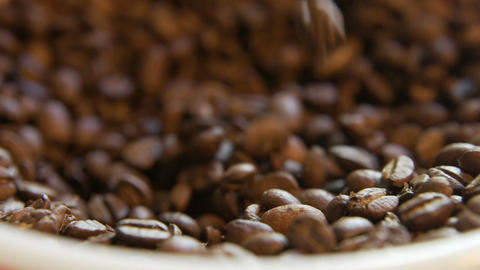 Coffee Beans Filling Bowl Footage