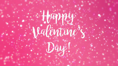 Romantic sparkly pink Happy Valentine's Day greeting animation Animation