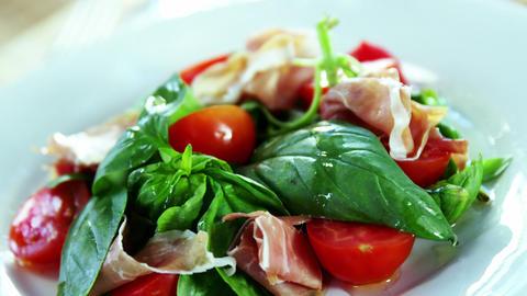 Salad served on plate Footage