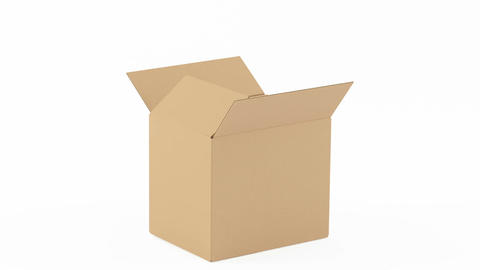 Open cardboard box on white background Footage