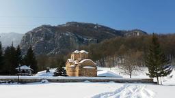 Saint John the Evangelist Monastery near Poganovo Village, Serbia in a sunny win Footage
