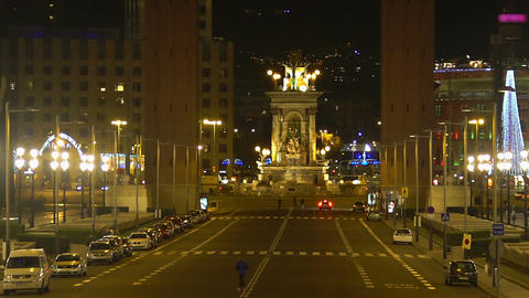 Historical part of beautiful European city, evening cityscape, Barcelona, Spain Footage