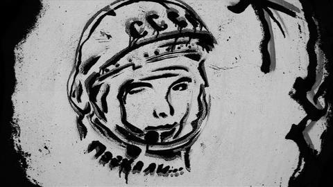 Soviet Pilot and Cosmonaut Gagarin Graffiti Footage
